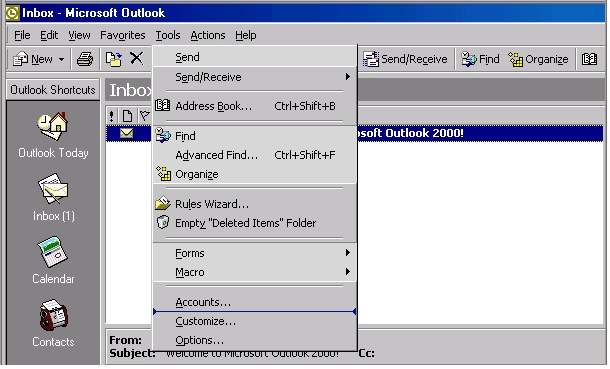 Outlook 2000 check settings - 1